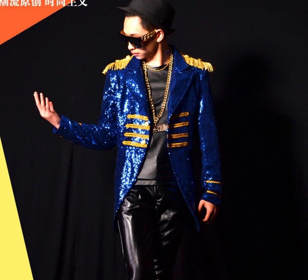 M 4xl 2020 Männer Kleidung der Mode Gericht Wind Blau Pailletten Anzug Mantel Sänger Bühne Kostüme Männer Plus Größe Leistung Kleidung