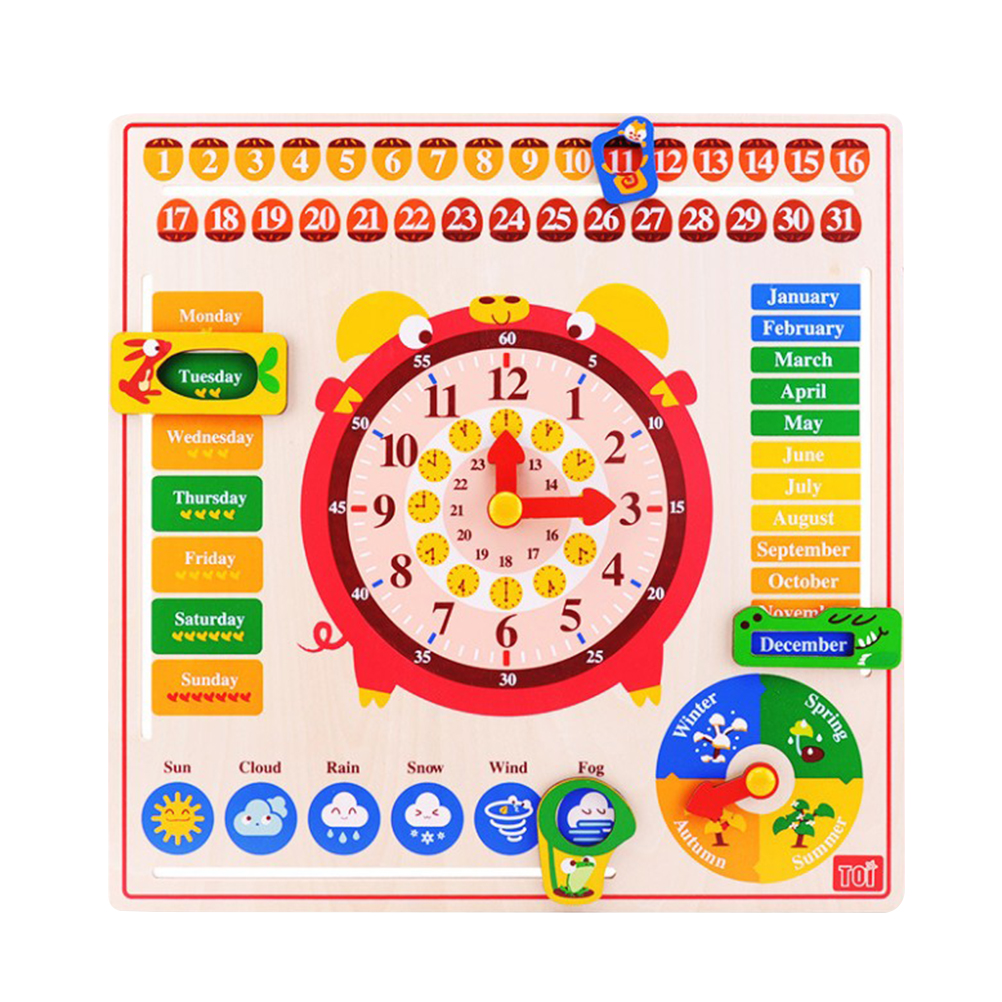 1pc Creative Wood Educational Cute Practical Toy Calendar Clock Toy Clock Cognitive Toy for Baby Newborn