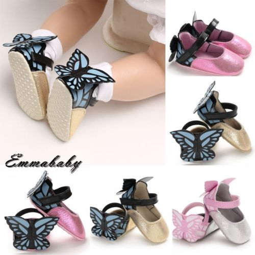 Cute Casual Flat Soft All Seasons Newborn Baby Kid Girl Leather Princess Wings First Walkers Soft Crib Shoes Toddler Prewalker