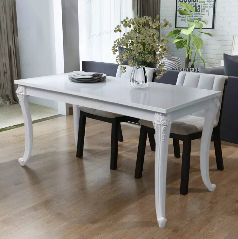 vidaXL Dining Table 120x70x76 cm High Gloss White Modern Dining Room Furniture Dining Table