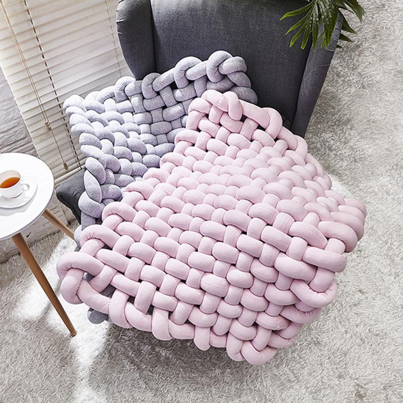 Nouveau INS Style 45x45 cm tapis tissé à la main bébé ramper tapis antidérapant coussin décoration de la maison accessoires de photographie