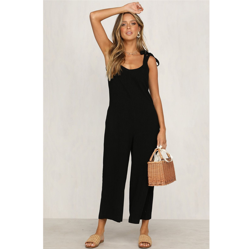 Summer Casual Loose Jumpsuit for Women Fashion Romper Bandage Backless V Neck Ladies Solid Jumpsuits Overalls