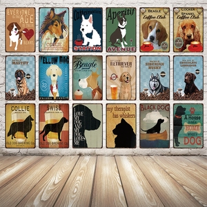 [ Kelly66 ] Dog Warning Beer Collie Bernese Doberman Metal Sign Tin Poster Home Decor Bar Wall Art Painting 20*30 CM Size Dy42