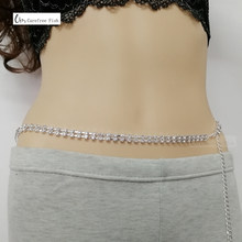 Sexy Glittery Silver Rhinestone Crystal Body Chain Belly Waist Lower Back Chain Belly Chain For Belly Dance Summer Jewelry beautiful 925 sterling silver white hetian jade dangle lock style design lucky pendant chain necklace fine jewelry charm gift