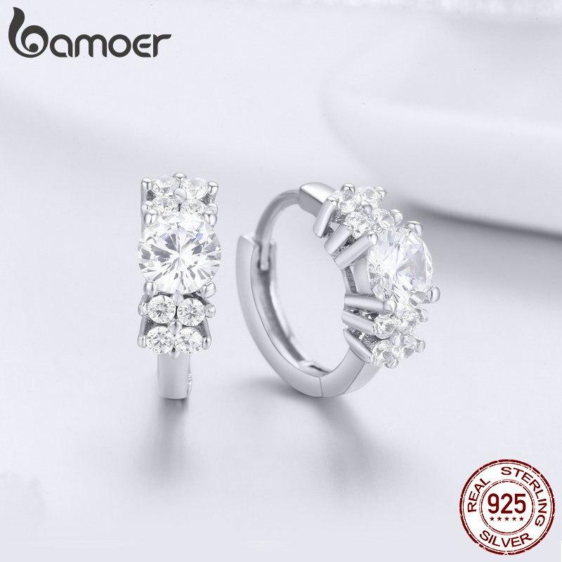 BAMOER 925 пробы с украшениями в виде серебристых кристаллов круглый прозрачный кубический серьги-кольца с цирконом для Для женщин Стерлинговое Серебряные ювелирные изделия SCE485