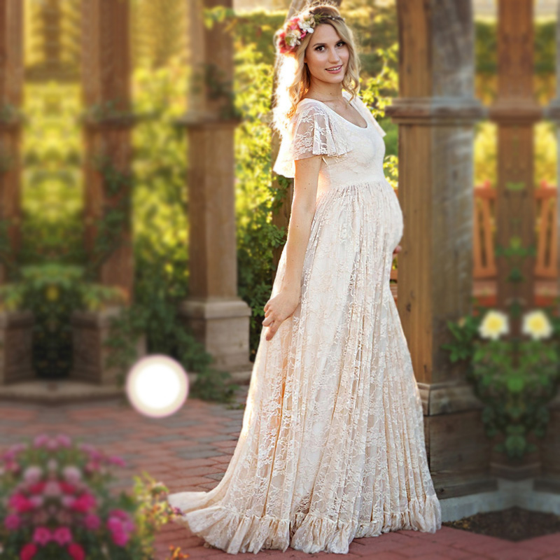 14836db77ffe9 Fashion Maternity Dresses Photography Props Summer Beach White Lace Female  Long Dress Short Sleeve For Pregnant Photography