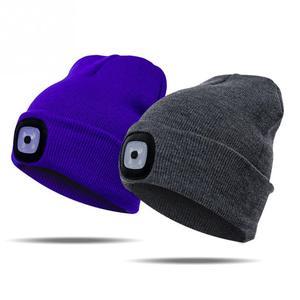 Image 3 - LED אור כובע חם סרוג כובע חיצוני דיג ריצה כפת כובע סתיו חורף פלאש פנס קמפינג טיפוס Caps #08