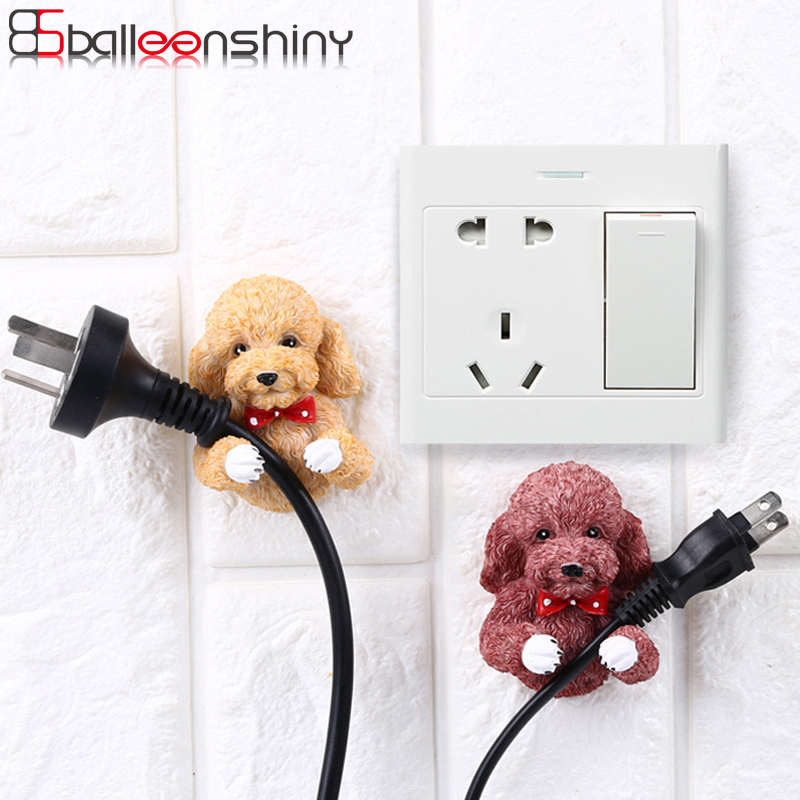 Balleenshiny Lovely Puppy Outlet Plug Storage Hook Resin Cartoon Dogs Socket Key Towel Wall Adhesive Hanger Home Decorative Gift