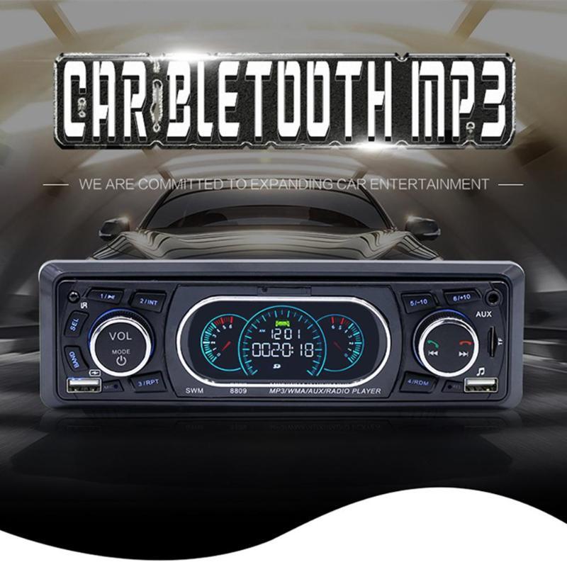 SWM 8809 1 Din Car Stereo MP3 Player In dash LCD FM Radio Bluetooth RCA AUX Dual USB U Disk 21 key Remote Control Auto Radio