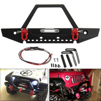 LBLA Aluminum Front RC Car Bumper With LED Light For Axial SCX10 Crawler 4WD Truck 1/10 RC Car
