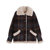 Autumn Winter Womens Korean Plaid Coat Jacket Women Single Breasted Short Coat Tops Casual Jacket