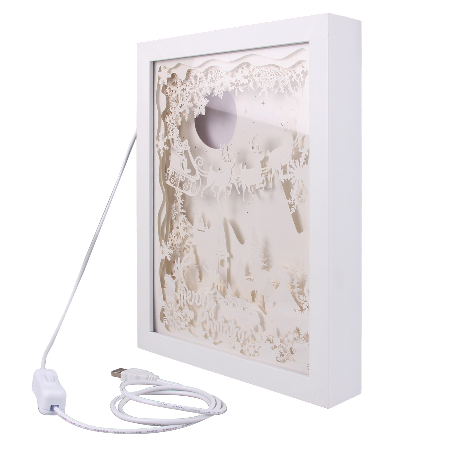 Merry Christmas 3D Shadow Box Paper Carving Papercut LED Night Lamp Light for Bedroom Coffee Shop Tea House Gift Decoration