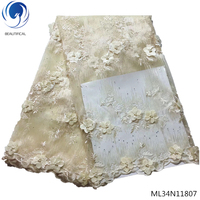 BEAUTIFICAL lace fabric with 3d flower tulle lace fabric african french beaded bridal lace fabric latest arrival ML34N118