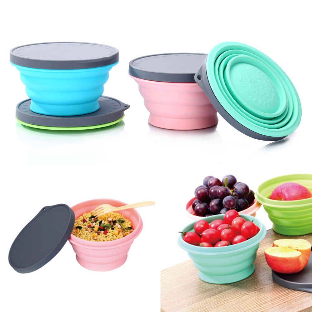 Camping Silicone Collapsible Storage Bowls Outdoor With