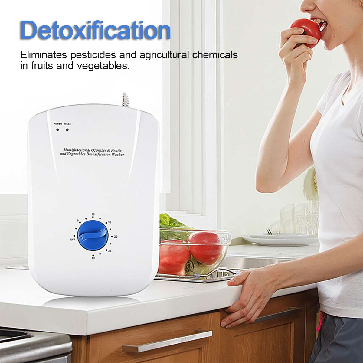 400mg/h Portable <font><b>Ozone</b></font> <font><b>Generator</b></font> Ozonator ionizer Home sterilizer Timer Air Purifiers Oil Vegetable Meat Fresh Purify <font><b>Water</b></font> image