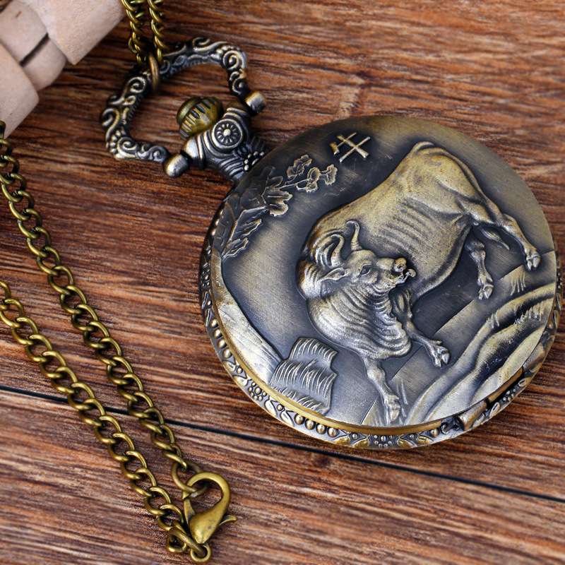 Pocket & Fob Watches Chinese Zodiac Animal  Ox Quartz Pocket Watches Vintage Fob Watches  Gift for Men/Women