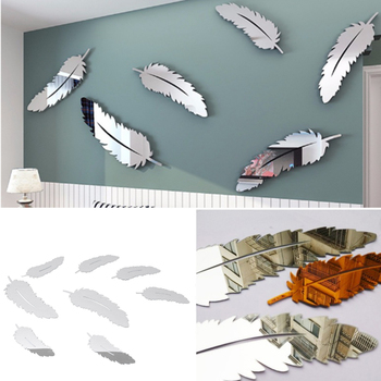 Feather Design 3D Mirror Bathroom Bedroom Departments Dining Room Entryway Kids Room Living Room Mirrors Rooms