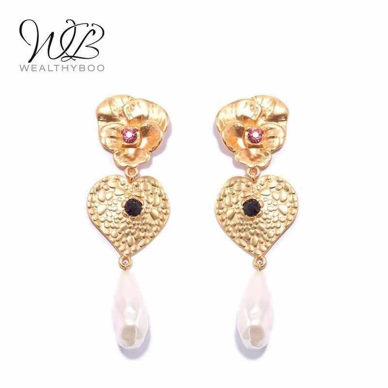 WEALTHYBOO Heart Flower Pearl Statement Earrings 2018 New Arrival Multi Stones Drop For Women Fashion Jewelry