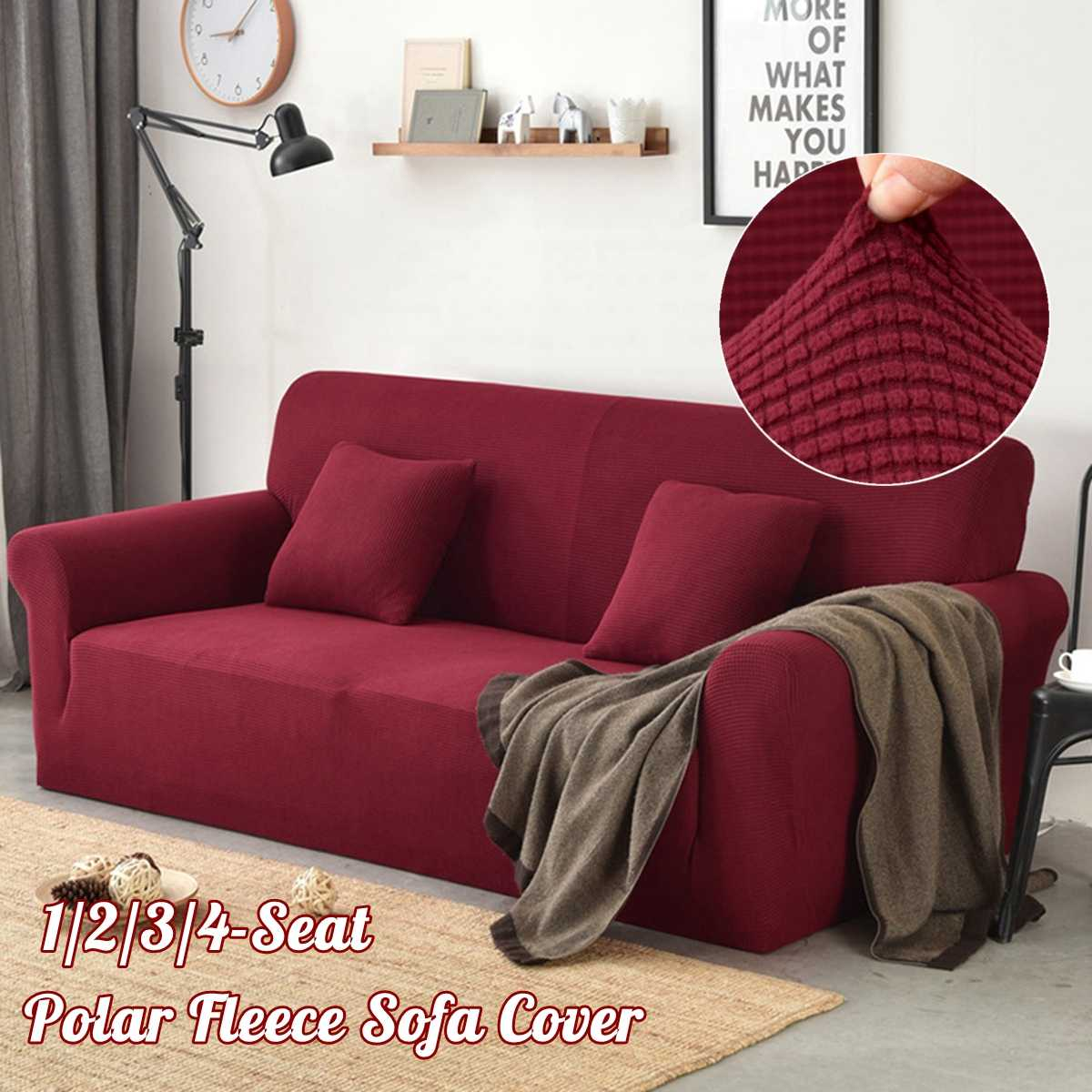 Polar Fleece Slipcover Sofa Solid Color Couch Cover Elastic full ...