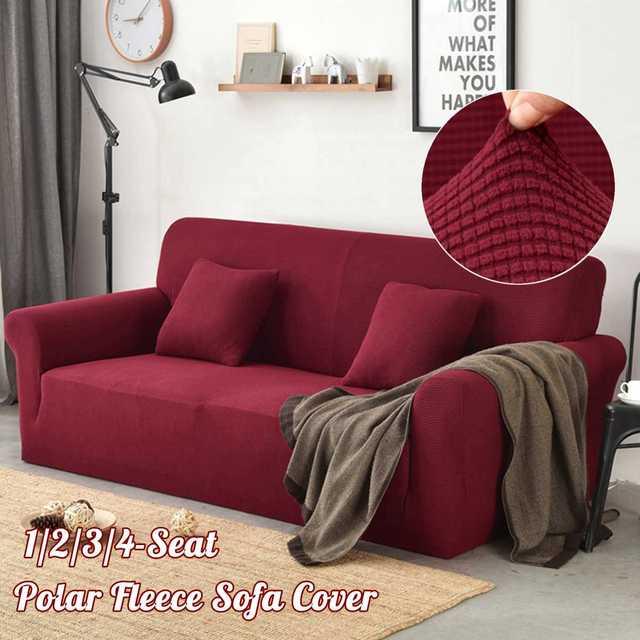 Sofa Cover Store: Polar Fleece Slipcover Sofa Solid Color ...