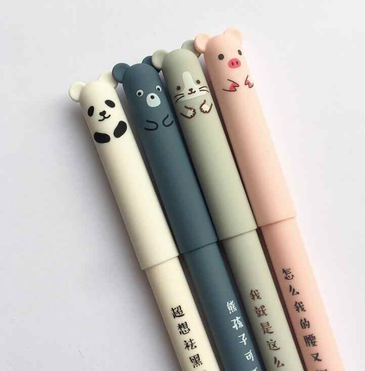 4 Pcs/lot Panda Erasable Gel Pen 0.35mm Blue Black Ink School Office Supply Gift Stationery Writing Signature Pen