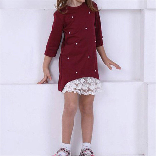 2019 Mommy and me family matching mother daughter dresses clothes solid mom and daughter pearl dress kids parent child outfits 4
