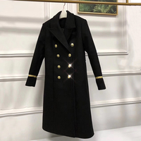 Double Breasted Coat Tweed Thick Full Sleeve Black Solid Long Length Turn Down Collar Womens Coats Winter