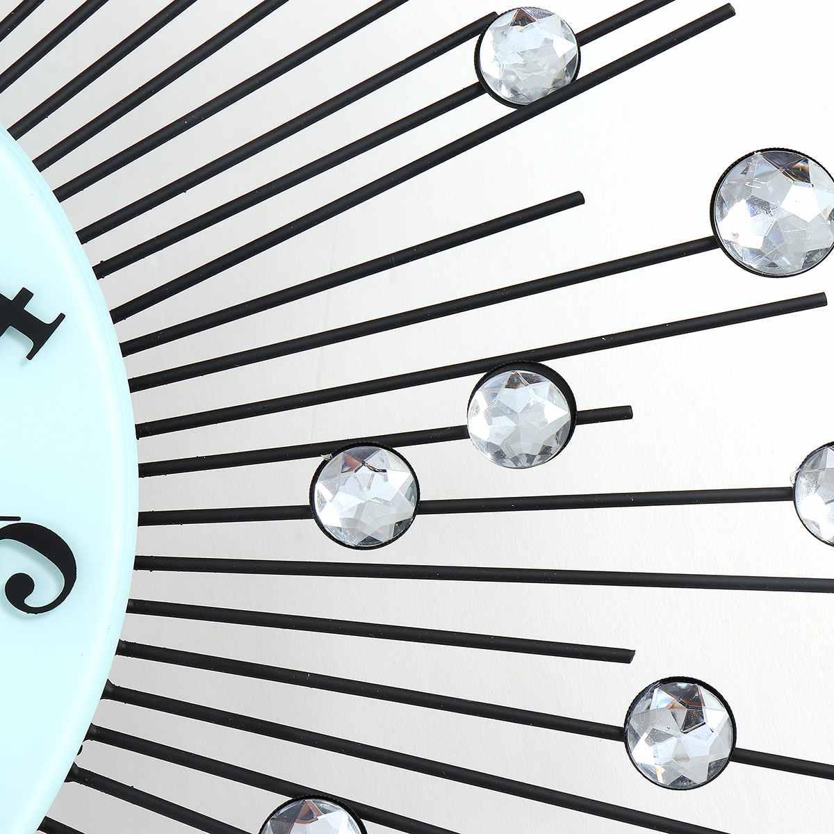 2019 luxe diamant horloge murale fer Art métal cristal 3D grande horloge murale ronde montre miroir diamant suspendus horloges décor à la maison - 6