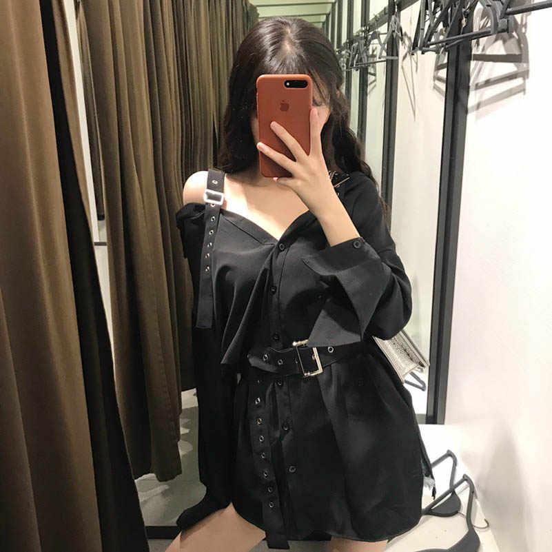 NiceMix 2019 nowych kobiet w dłuższym stylu bluzka koszule moda czarna klamra Off ramię głęboki dekolt przejrzysta bluzka kobiety seksi koszulka