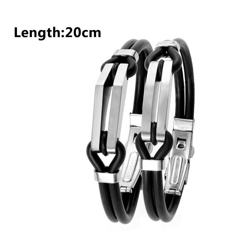 Silver Couples Valentines Gift Stainless Steel Bracelet For Men Jewelry Gift High Quality Black Fashion Cuff Leather 1PC Unique
