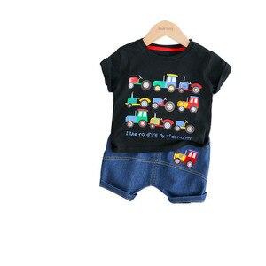 Летняя мода для детей, хлопковая детская одежда, мультяшная футболка с грузовиком, шорты, 2 шт./компл., одежда для мальчиков и девочек, повседн...