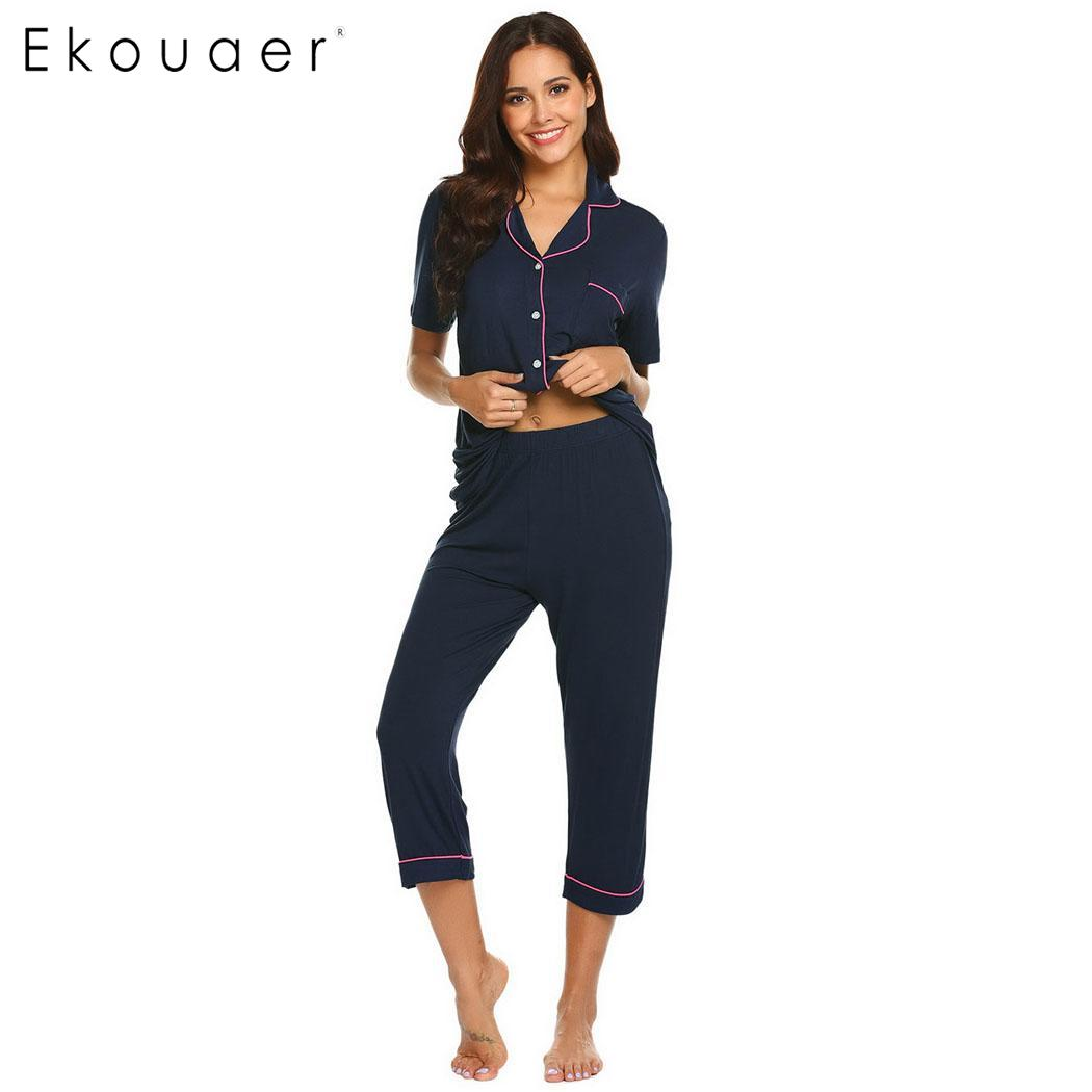 64884c29bb Ekouaer Women Summer Sleepwear Short Sleeve Pajama Set Casual Solid Calf  Length Pants Pajamas Sets Nightwear