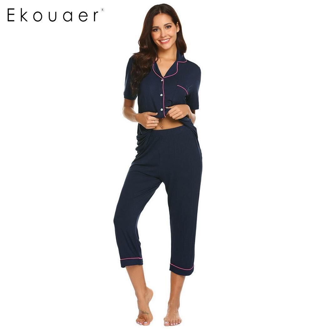 Ekouaer Women Summer Sleepwear Short Sleeve   Pajama     Set   Casual Solid Calf Length Pants   Pajamas     Sets   Nightwear Female Home Clothes