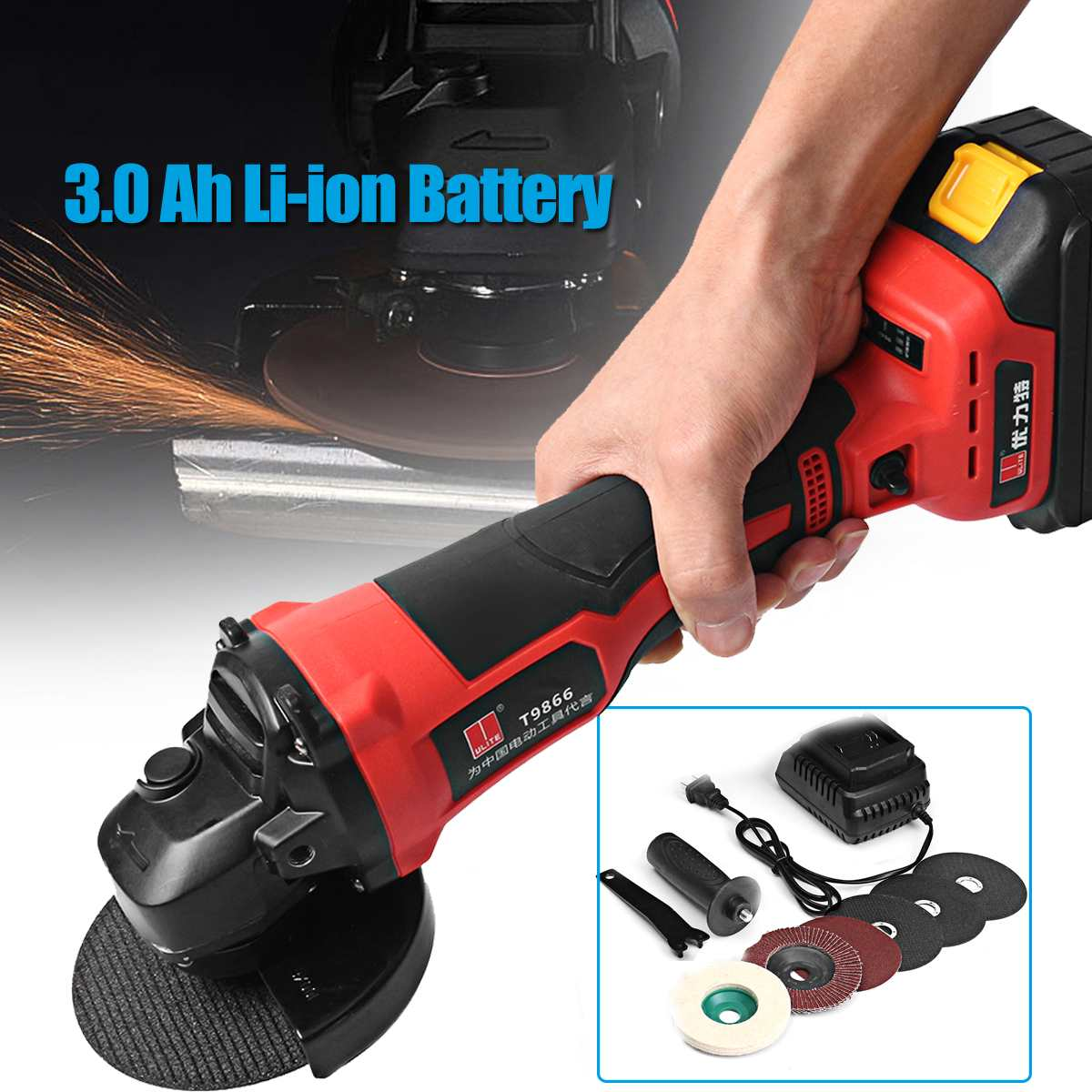 21V Cordless Brushless Grinder With 3.0Ah Rechargable Lithium Li-ion Battery 100mm Angle Grinding Cutting Machine Kit Box