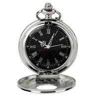 Retro Vintage Silver Skeleton Round Hunter White Steampunk Male Women Clock FOB Pendant Quartz Pocket Watch Jewelry