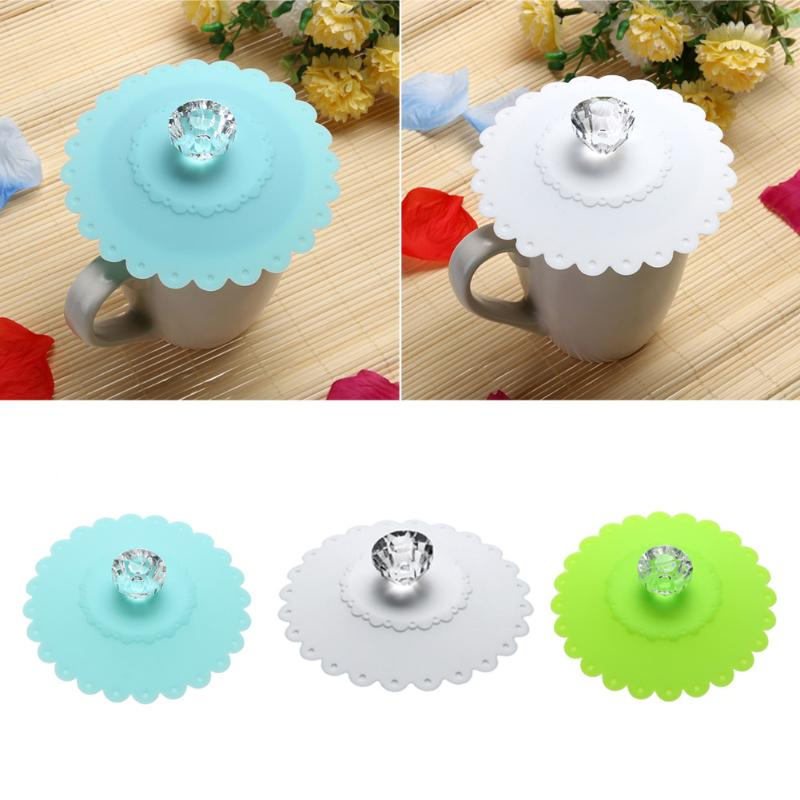 Lace Shape Diamond Cup Lid Silicone Thermal Insulation Cup Cover Dustproof Leakage-proof with Diamond handle Cup Cover