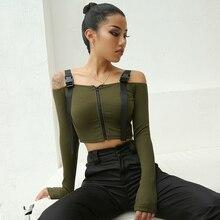 Sexy Harajuku Off Shoulder T Shirt Womens Strap Casual Tshirts Cotton Women Long Sleeve Crop Top Punk Korean T-shirt Lady