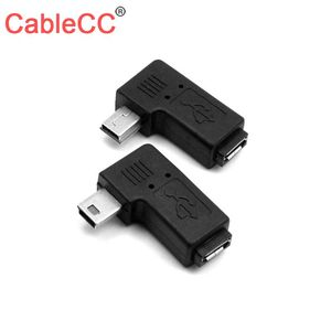 Cablecc 90 Degree Left & Right Angled Mini USB 5pin Male to Micro USB Female Data Sync Power Adapter(China)