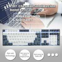 LEORY PBT Magicforce 108 Key English Languag White Gray Color Dye sub Keycaps Keycap Set for Mechanical Keyboard