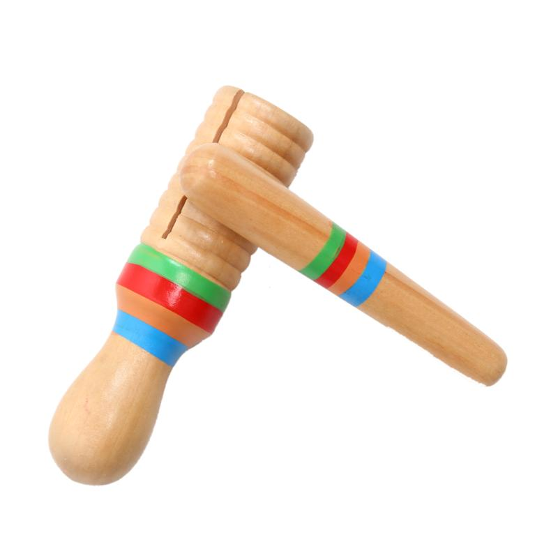Wooden Music Instrument For Children Kid Toys Sound Tube Small Single-threaded Ring Percussion Cylinder Croak Frog Barrel Toys