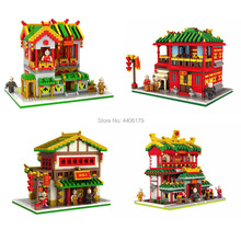 hot LegoINGlys creators city Street view Chinatown Micro Diamond Building Blocks Silk shop Pub Martial arts hall brick toys gift