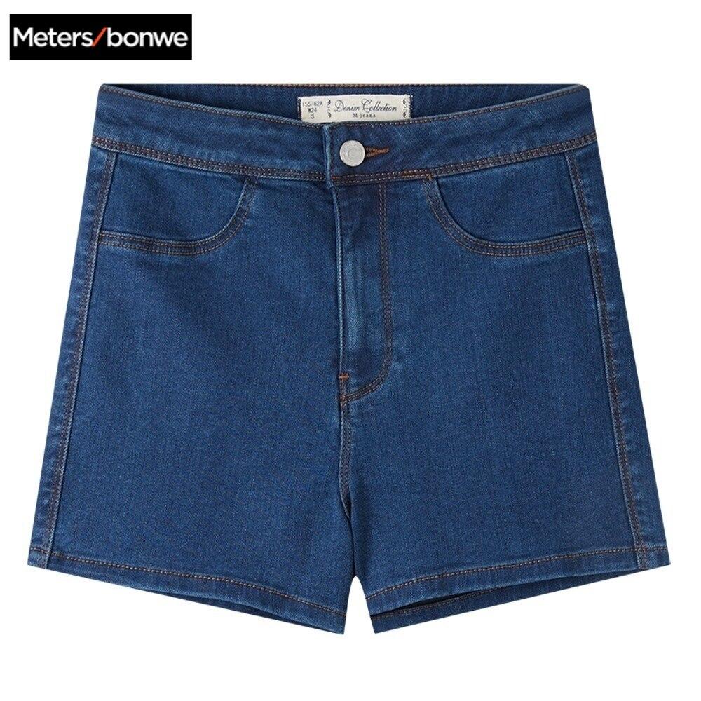 Metersbonwe brand denim   shorts   women   shorts   high waist denim   shorts   basic style