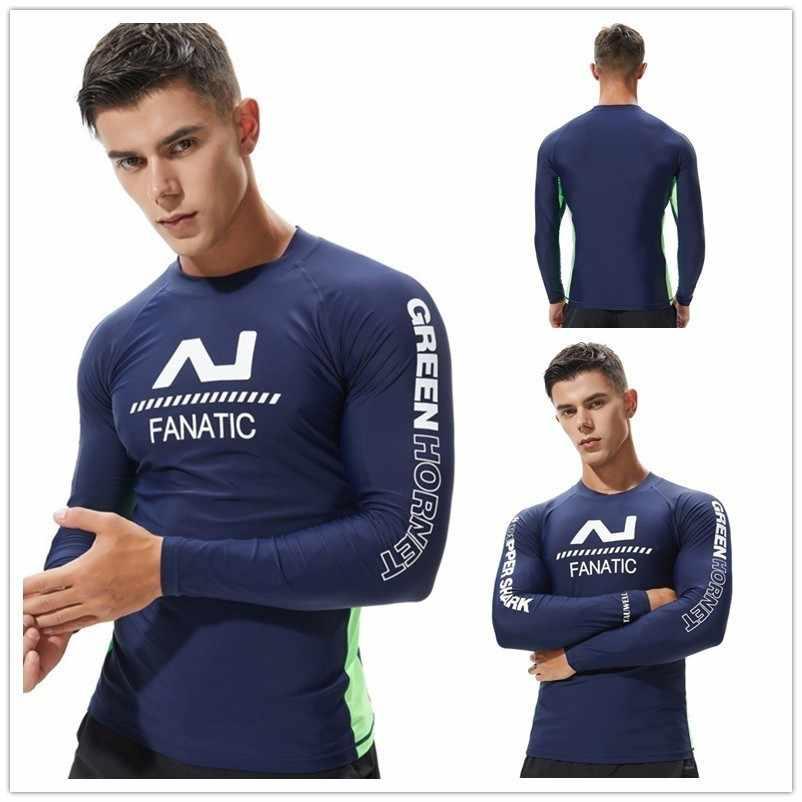 K Berlaku Pria Lengan Panjang Baju Renang Berenang Kemeja Lycra Surfing Ruam Penjaga Baju Renang untuk Berenang Berlayar Diving Wetsuit Pakaian