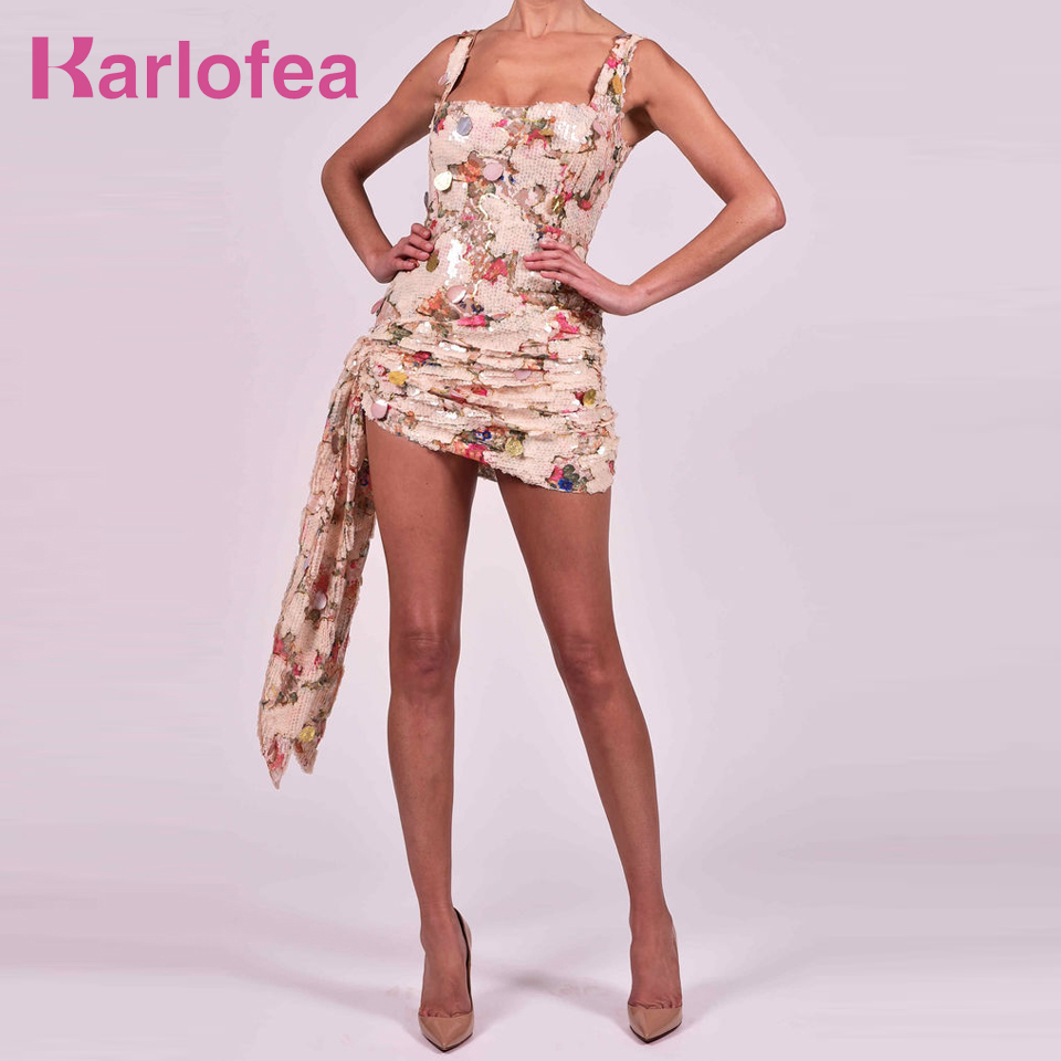 Karlofea Office Lady Slim Wrap <font><b>Dresses</b></font> <font><b>Sexy</b></font> Ruched Glitter Sequined <font><b>Club</b></font> Night Party <font><b>Wear</b></font> Chic Draped Gorgeous Outfits Sundress image