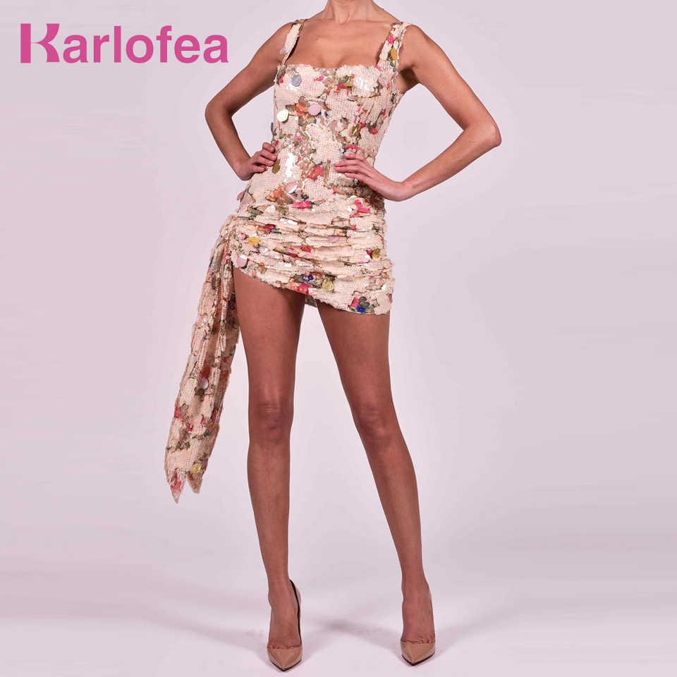 Karlofea офисный женский узкий обёрточная бумага платья сексуальные с рюшами блестки клубная ночная одежда шикарные драпированные великолепные наряды Сарафан