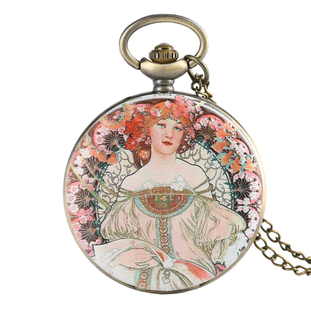 Retro Beauty Woman Quartz Pocket Watch Flowers Cover Arabic Number Necklace Chain Sweater Chain Antique Clock Gifts For Female