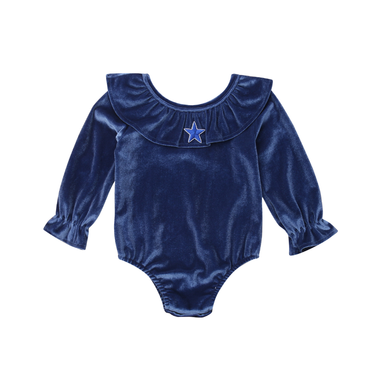 Quality Xmas Cute Infant Kids Baby Girls Warm Velvet Bodysuits Ruffles Long Sleeve Blue Jumpsuits Clothes Outfit 0-18m Superior In