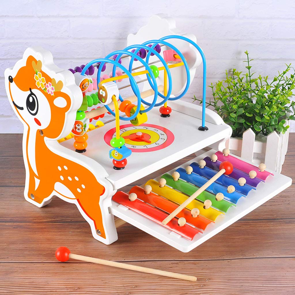 3 in 1 Wooden Educational Toy Bead Labyrinth Deer Abacus Xylophone Musical Mathematical Learning Toys Gift for Children Kids|  - title=