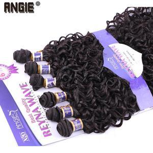 Image 5 - Синтетические вьющиеся волосы ANGIE, 6 шт./лот, пучки волос 16 20 дюймов, 210 г, двойные синтетические волосы для наращивания