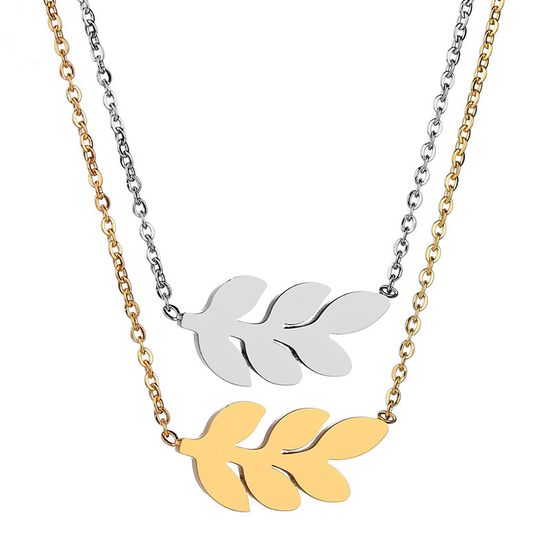 Simple Jewelry Women Stainless Steel Cute Small Weed Herb Charm Necklace Leaf Pendant Necklace Personality Jewelry Wholesale